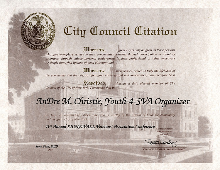 AnDre Christie NYC Council
